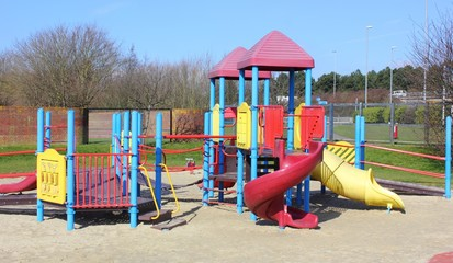 A childrens modern playground with safety in mind