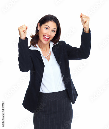 Happy successful business woman.