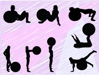 pilates women silhouettes