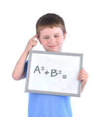 School Boy Thinking About Math Answer