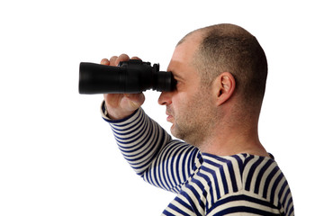 sailor with binoculars on the white background