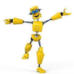 yellow robot is happy