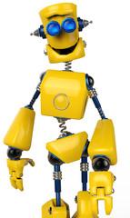 yellow robot walking close up