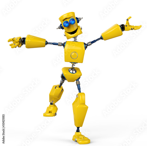 Plexiglas Robots yellow robot is happy