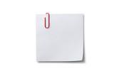Notizzettel mit roter Büroklammer