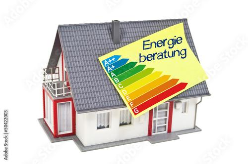 Leinwandbild Motiv Haus mit Zettel und Energieeffizienzklassen