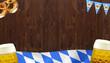 Holzwand mit Bayern Fahne und Bierkrügen