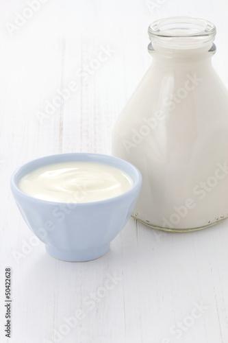 milk bottle and plain yogurt