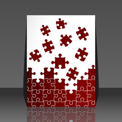 Puzzle pieces vector - flyer design