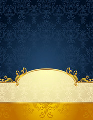 Set Seamless pattern in Victorian style Gold  Dark Blue colors