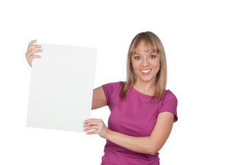 Beautiful girl holding a blank poster for advertising