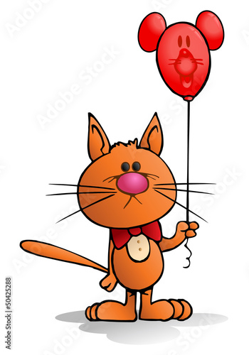 orange cat holding red baloon