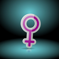 the Venus symbol for a female organism or woman