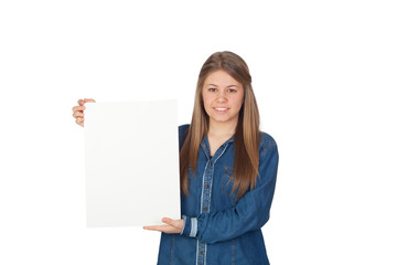 Beautiful young girl holding a blank poster for advertising