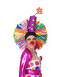 Funny girl clown with a big colorful wig