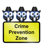 Comical USA crime prevention zone sign