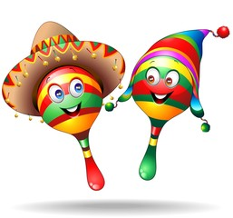 Maracas Cartoon Characters-Vector