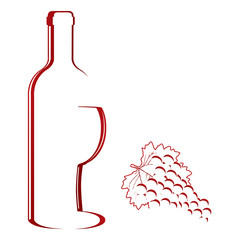 Abstract wine bottle & glass design vector