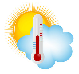 Weather Icons with sun, cloud and thermometer