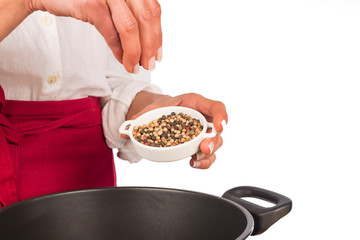 Seasoning with pepper grains