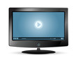 lcd monitor and blue video player