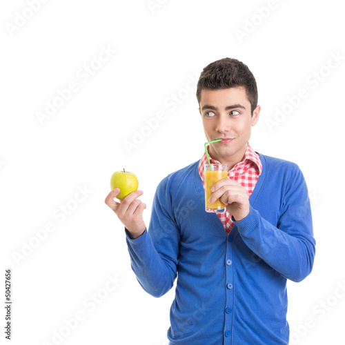 Funny young man with healthy refreshing juice