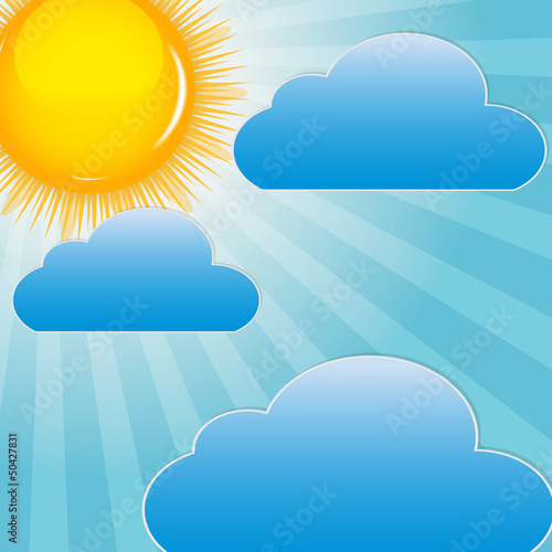 Aluminium Hemel Cloud and sunny background vector illustration