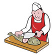 Sushi Chef Butcher Fishmonger Cartoon