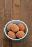 Fresh Organic Brown Eggs from the Chicken Farm on  Wood