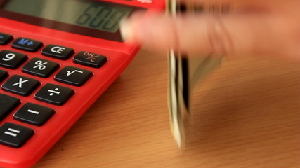 Red calculator with dollar.
