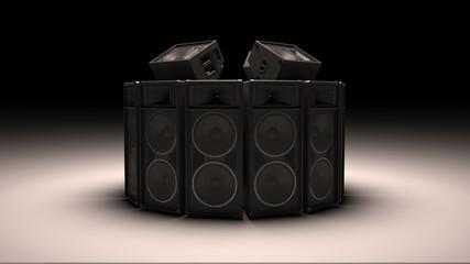 Black speakers in a circle in 3D