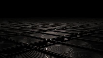 Blackk surround sound speakers as floor