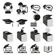 vector black education icons set on white