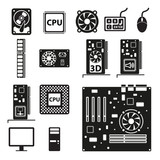 Set of computer hardware icons. Vector illustration.
