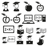 vector black education icons set on white