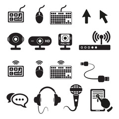 Set of computers and hardware icons. Vector illustration.