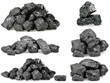canvas print picture - Set of piles of coal isolated on white