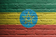 Brick wall with a painting of a flag, Ethiopia