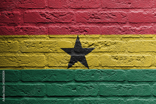Brick wall with a painting of a flag, Ghana