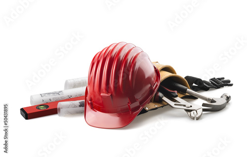 isolated red hard hat with tools and blueprints
