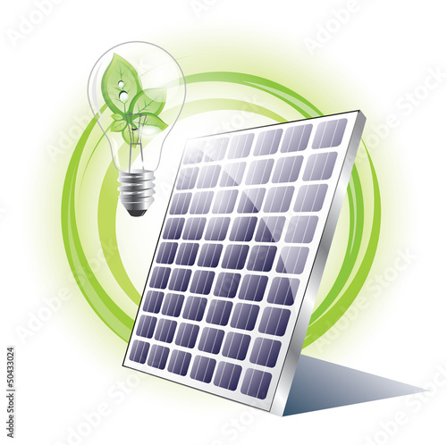 Solar panel with lightbulb