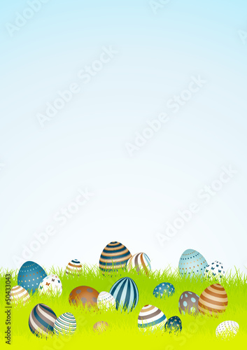 20 Retro Easter Eggs Background Meadow Sky DIN A4