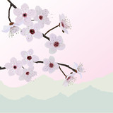 Beautiful flowers on almond background silhouettes mountains