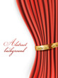 red satin curtains with gold background