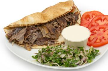 Shawarma Doner Kebab on a plate