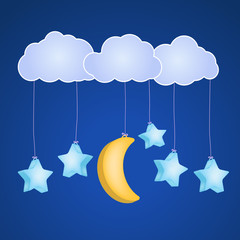 clouds with hanging stars and moon