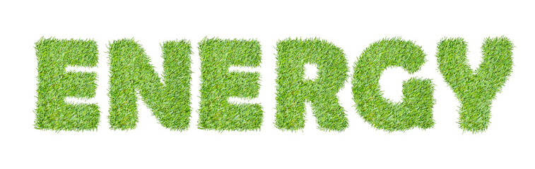 the word ENERGY  from the green grass, isolated on white