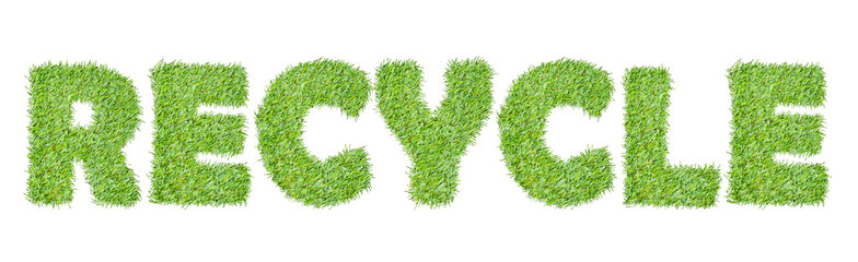 the word RECYCLE from the green grass, isolated on white