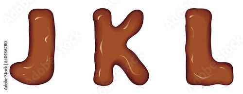 Vector set of characters consisting of melted chocolate