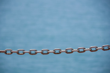 Metal chain links close up